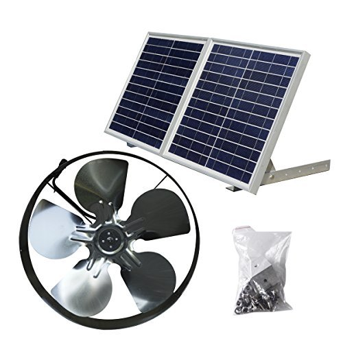 New  25W Solar Powered Attic Ventilator Gable Roof Vent Fan with 30W Foldable Solar Panel