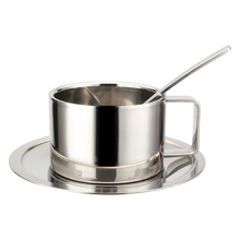 European Style Food Grade 304 Stainless Steel Coffee Cup Saucer Set Espresso Cappuccino Coffee Cup Dish Spoon Continental Set