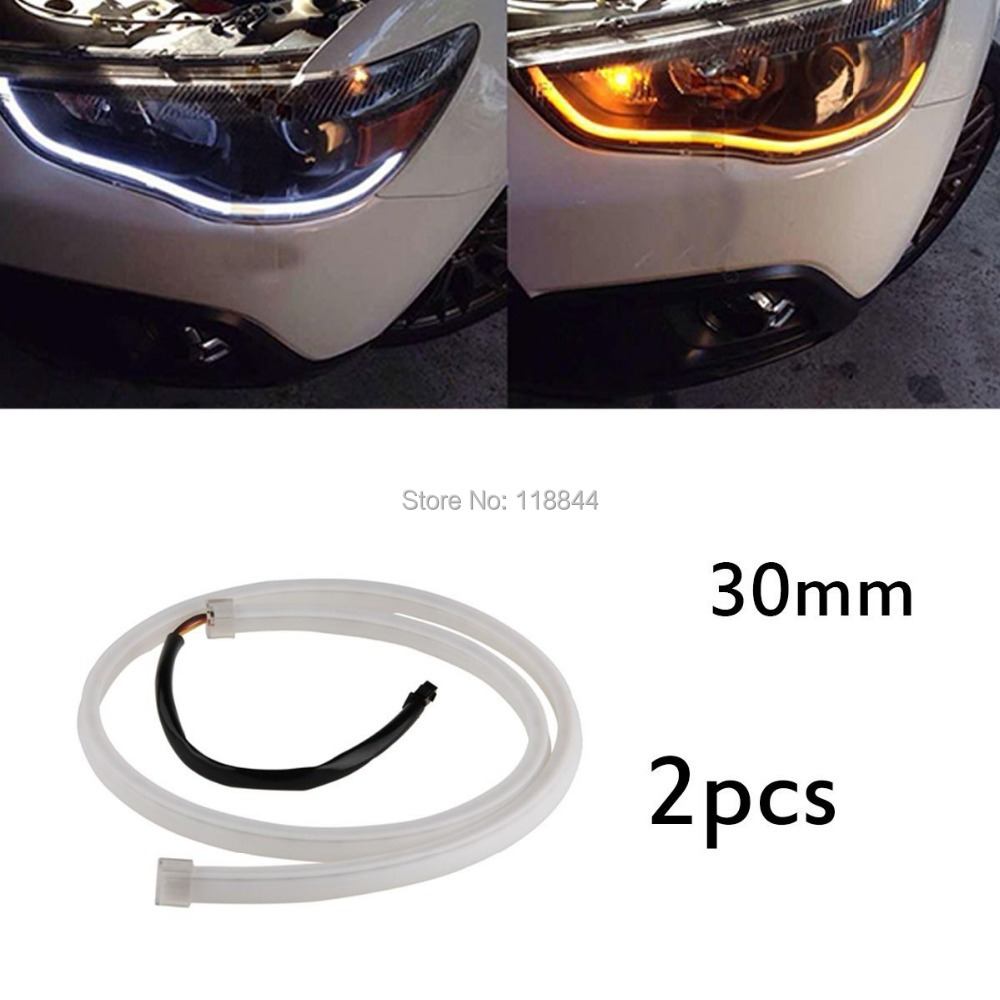 2Pcs 30cm Flexible Soft Tube Guide Car Daytime Running LED Strip White DRL&Yellow Turn Signal Lamp Light Source DC12V 2017 2pcs 30cm led white car flexible drl daytime running strip light soft tube lamp luz ligero new hot drop shipping oct10