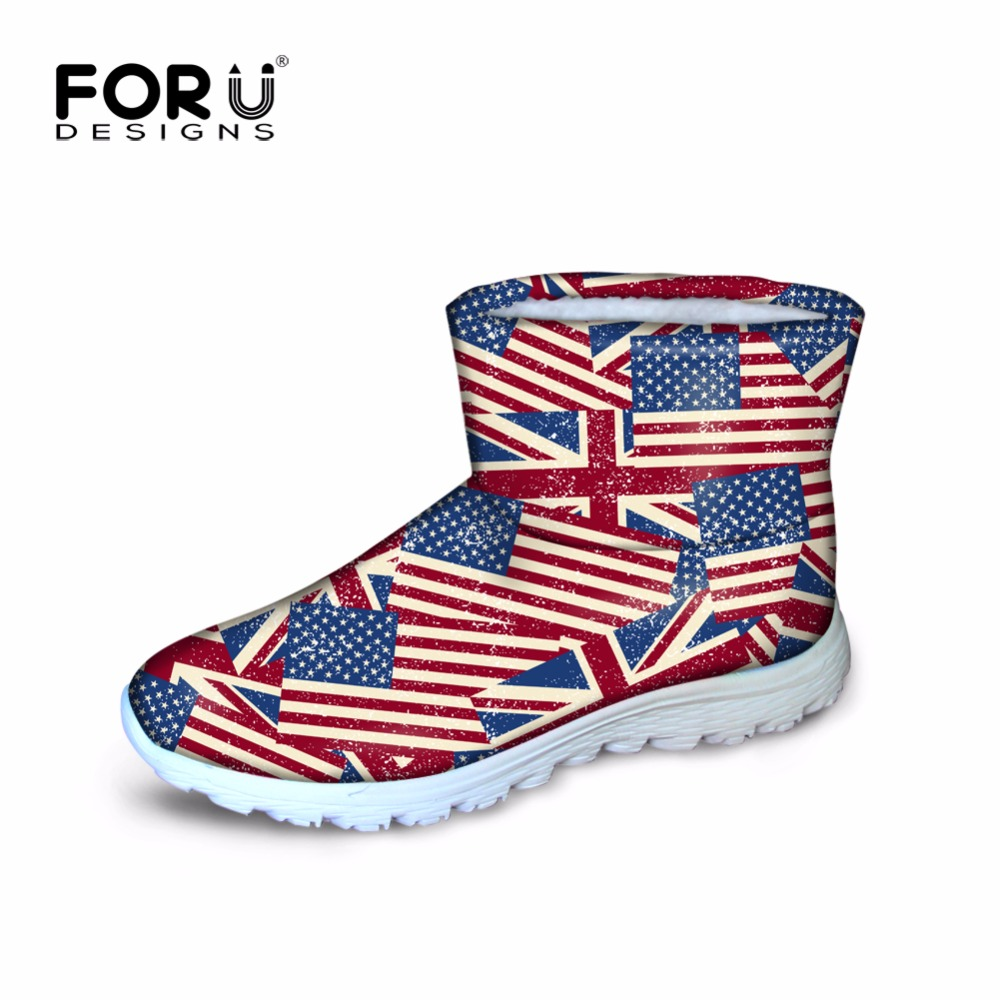 ФОТО FORUDESIGNS Flag Pattern Women Winter Shoes Snow Boots Waterproof Breathable High-top Ankle Boots For Girl Warm Woman Flat Shoes
