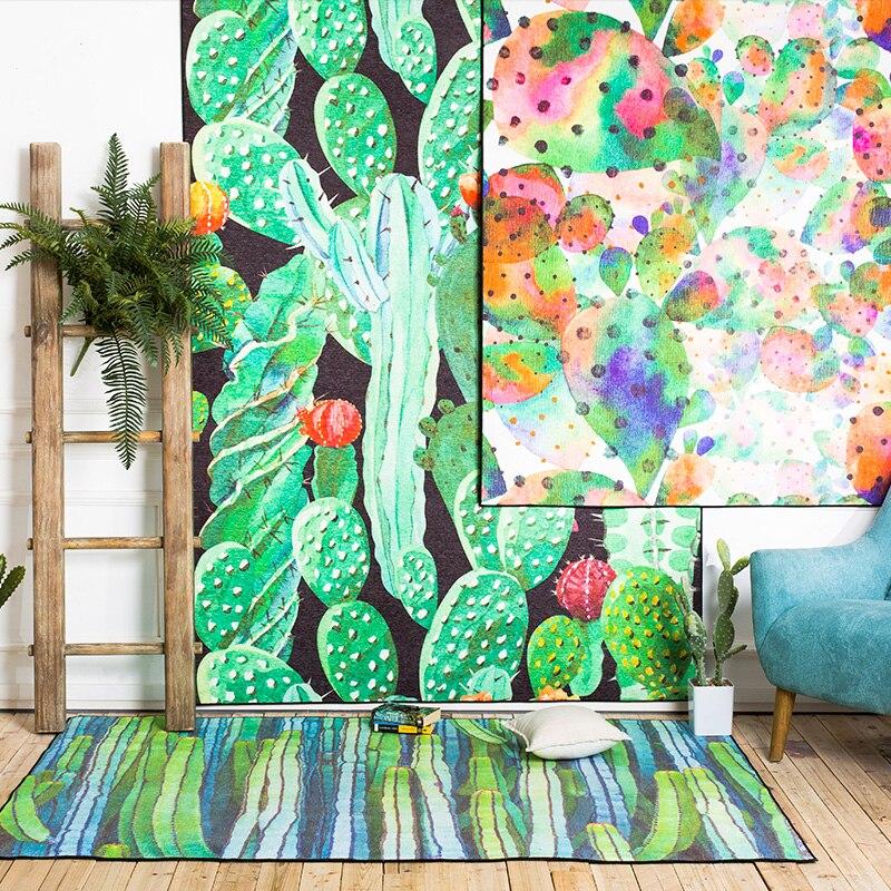 PAYSOTA Kaktus Pastoralen Grosse Teppiche Wohnzimmer Waschbar Hotel Schlafzimmer Rutschfeste Matte