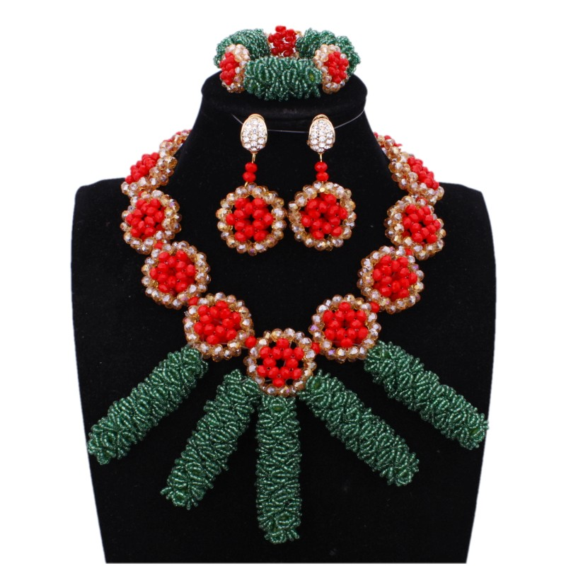 Luxury Costume Jewelry Hunter Green And Red African Necklace Jewellery Set Bold Austria Crystal Pillar Bridal Jewelry Set 2018 Luxury Costume Jewelry Hunter Green And Red African Necklace Jewellery Set Bold Austria Crystal Pillar Bridal Jewelry Set 2018