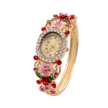 Top Luxury Famous Brand Sweet Pink Color Bohemian Women's Watch Vintage Retro Rhinestone Gold Plated Bangle Watches For Women