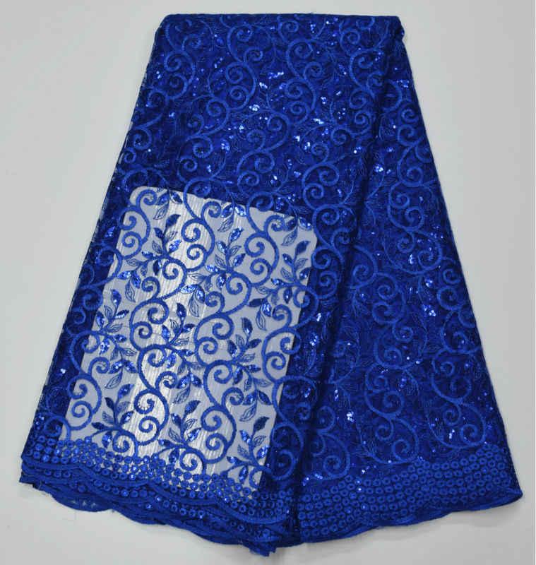 2016 de Alta Qualidade Tecido de Renda Africano Ouro, Azul Royal Francês Net Paetês Bordados Vestido de Tule Tecido de Renda Para O partido Nigeriano