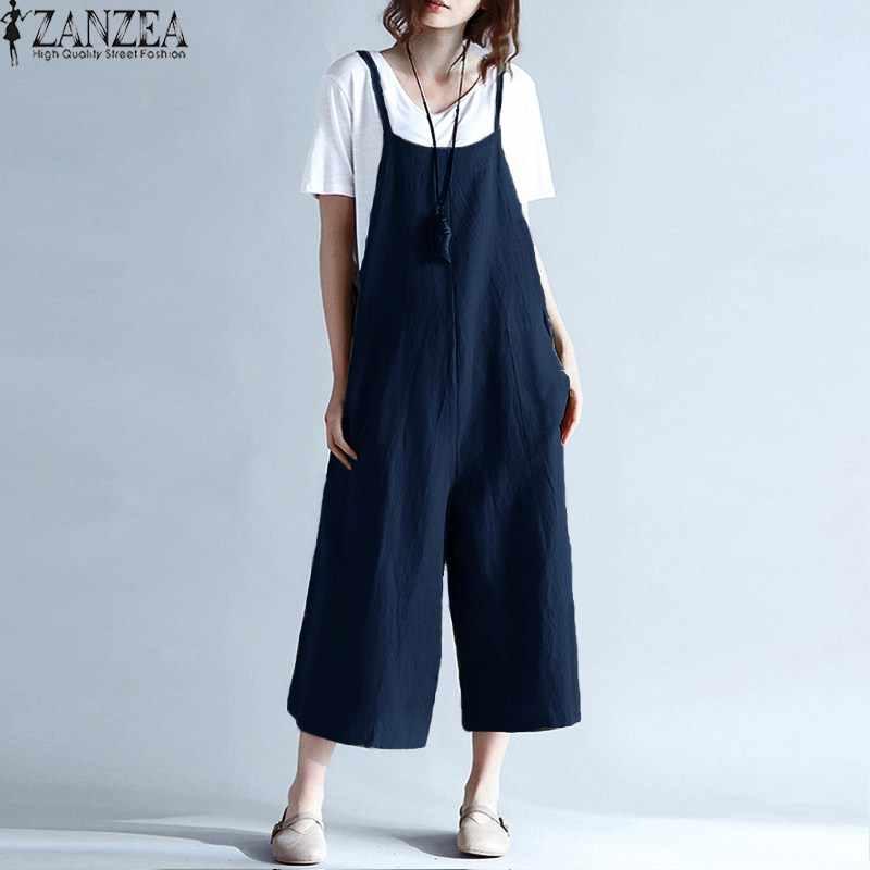 26a64621bd3 ... M-5XL ZANZEA Women Spaghetti Straps Wide Leg Harem Loose Long Pants  Cargo Jumpsuit Cotton ...