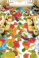 3d pvcフローリングカスタム写真防水床ステッカーhdフルーツイチゴ3d壁壁画壁紙の寝室の装飾絵