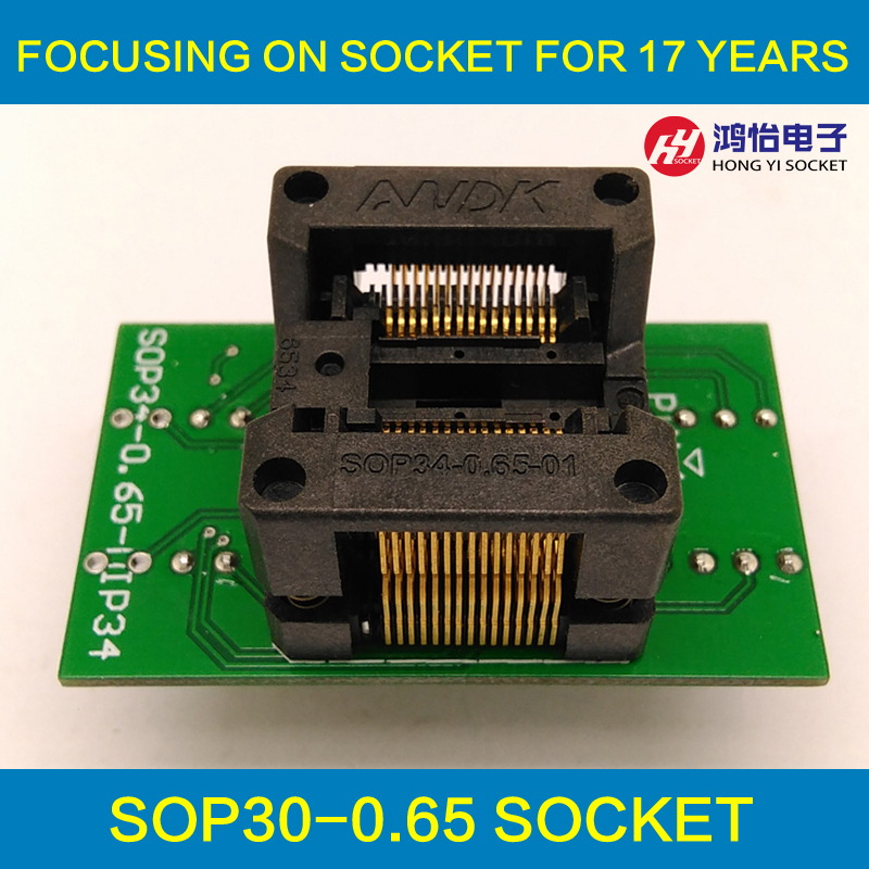 SSOP30 TSSOP30 to DIP30 Programming Socket Adapter Pitch 0.65mm IC Body Width 5.3-5.7mm 208mil-224mil Flash Chip Test