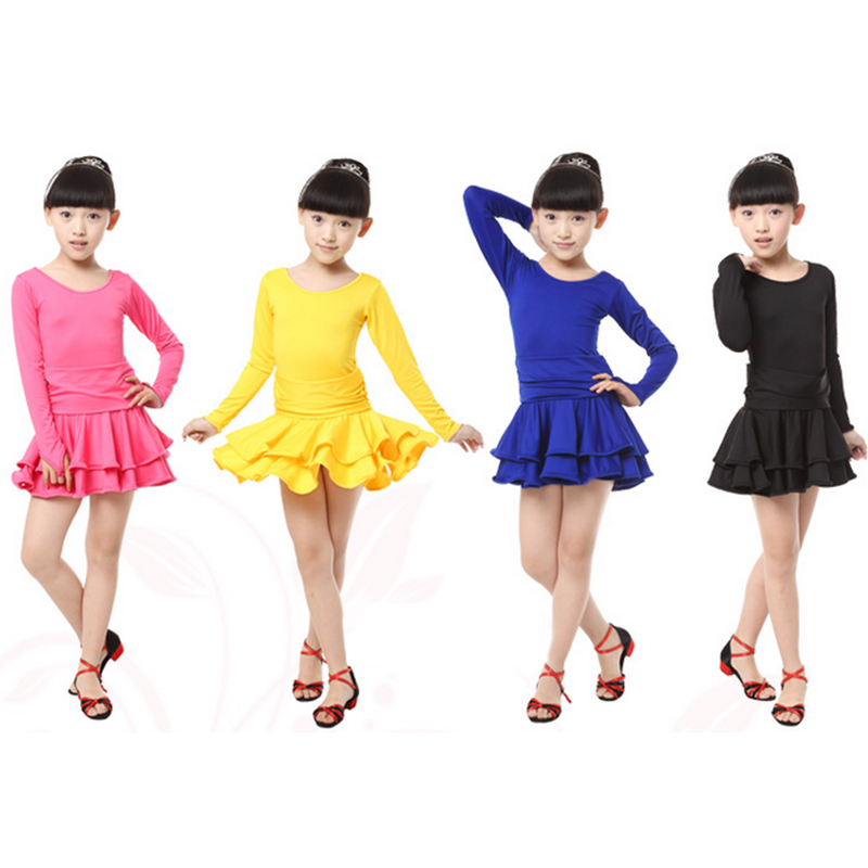 Girl Fashion Latin Dresses Clothing Dance Dress For Latin Kids Competition Practice  Skirt Ballroom Children Party Latin Clothes