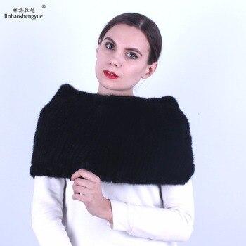 Linhaoshengyue  women mink fur shawl Real mink fur