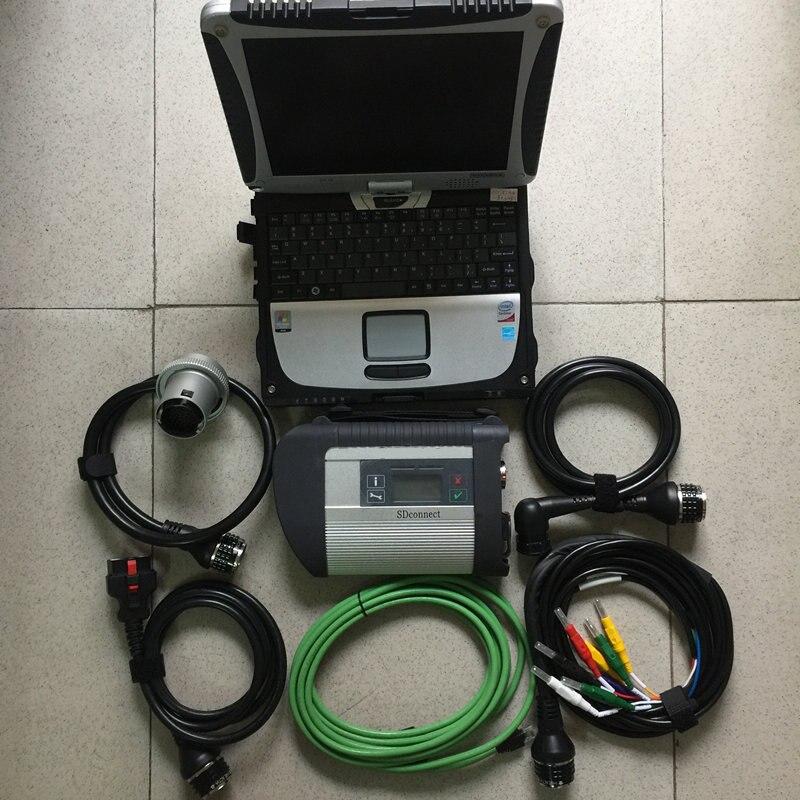 Mb star outil de diagnostic pour mb star c4 multiplexeur avec 5 câbles 320gb hdd plus récent v2019.09 avec ordinateur portable cf19 table écran tactile - 2