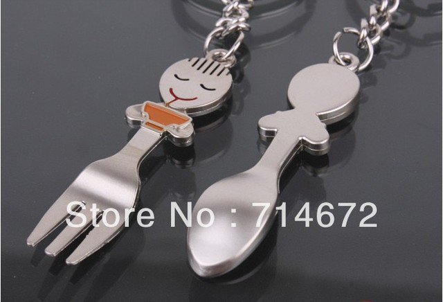 "Free shipping (60PR/LOT )Wholesale ""Spoon and fork"" STAINLESS STEEL LOVE ladle KEY RING-KEY CHAIN loves gift"