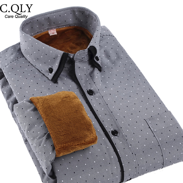 Quality Winter Polka Dot Shirts Men Casual Velvet Thick Double Collar Shirts Comfortable Long Sleeve Slim Camiseta Masculina