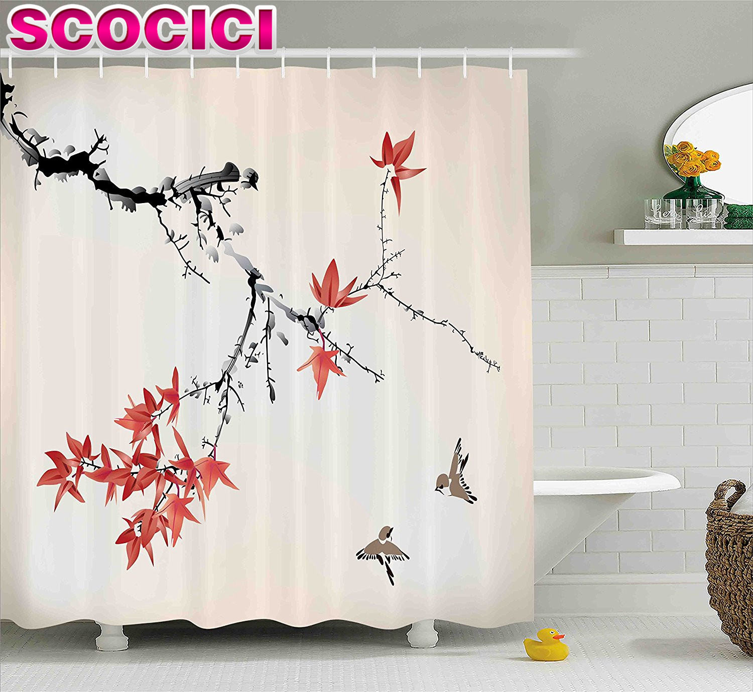 Aliexpress.com : Buy Japanese Shower Curtain Cherry Blossom Sakura Tree  Branches Romantic Spring Themed Watercolor Picture Fabric Bathroom Decor  Set From ...