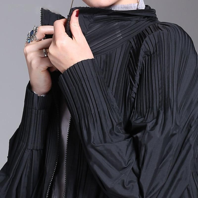 Marée Mode Longues Longue Taille Jg932 Plissée eam Veste Noir Printemps Nouveau De Manches Zipper Black Grande 2019 Femmes Revers Lâche Manteau vTqwCU