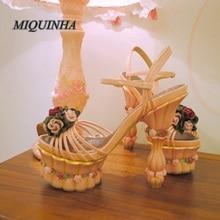 especial women wedding sandals strange style heel high heel buckle flower decoration shoes platform fashion dress shoes