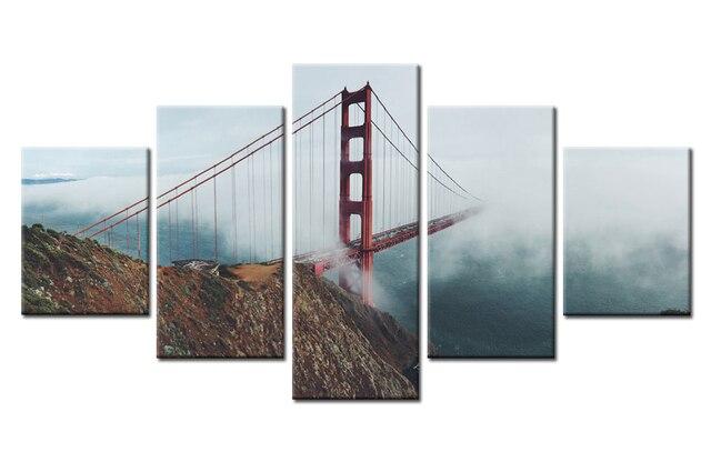 HD печати Мост Золотые ворота цепной мост туман веревки картина для  современной декоративные 220f2918fea