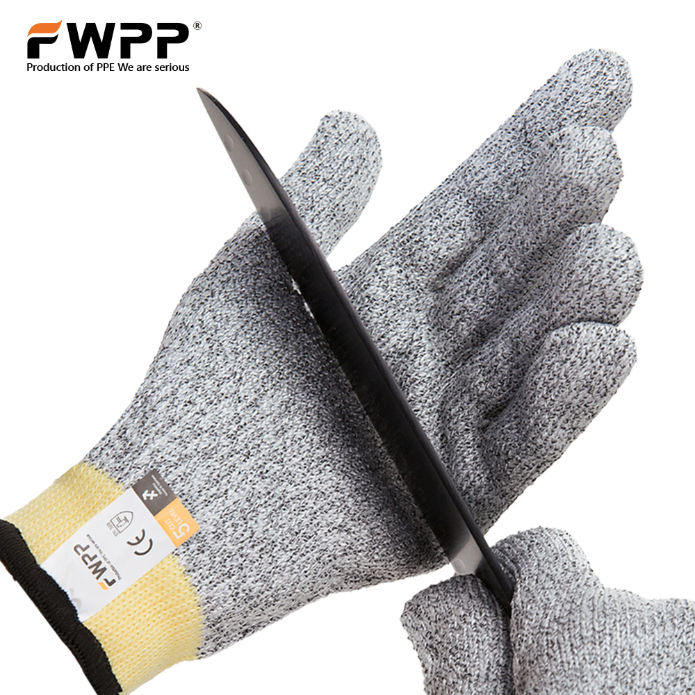 FWPP Pack of 1Pair Cut Resistant Gloves Level 5 Cut Protection protective Safety Gloves Kitchen for Meat Cutting Dyneema M L XL