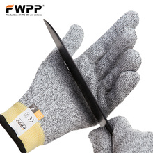 Фотография FWPP Pack of 1Pair Cut Resistant Gloves Level 5 Cut Protection protective Safety Gloves Kitchen for Meat Cutting Dyneema M L XL