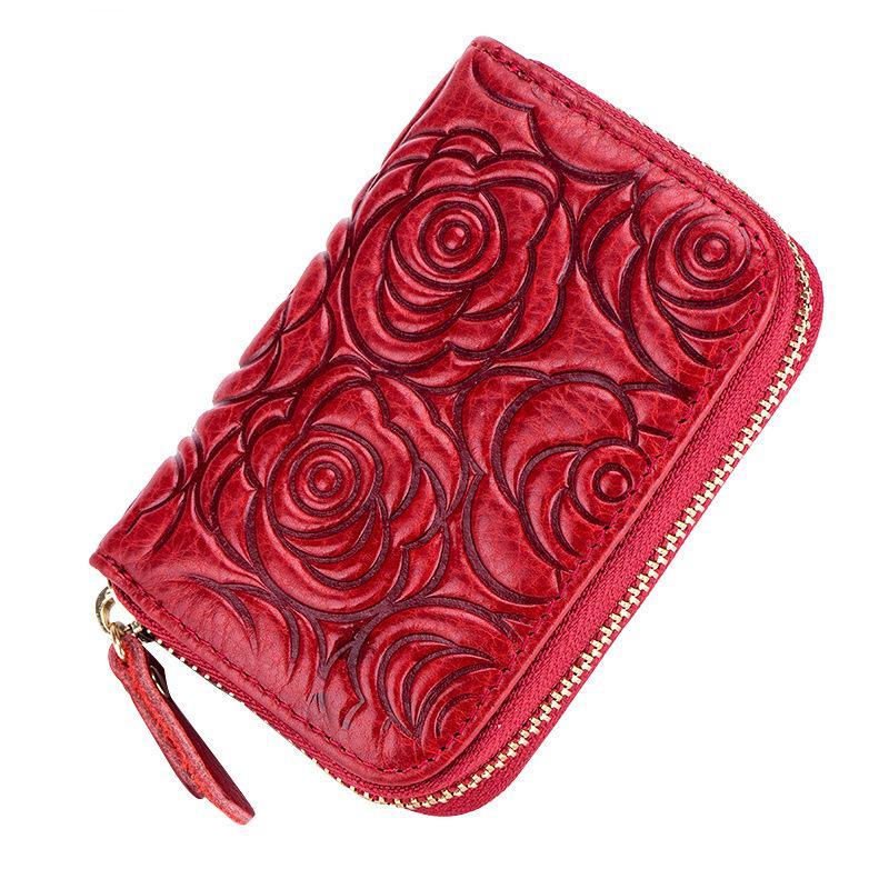 Unisex Genuine Leather Organ Card Holder Wallet Rfid Casual Women Card Holders Organizador Emboss Zipper Small Wallet Luxury