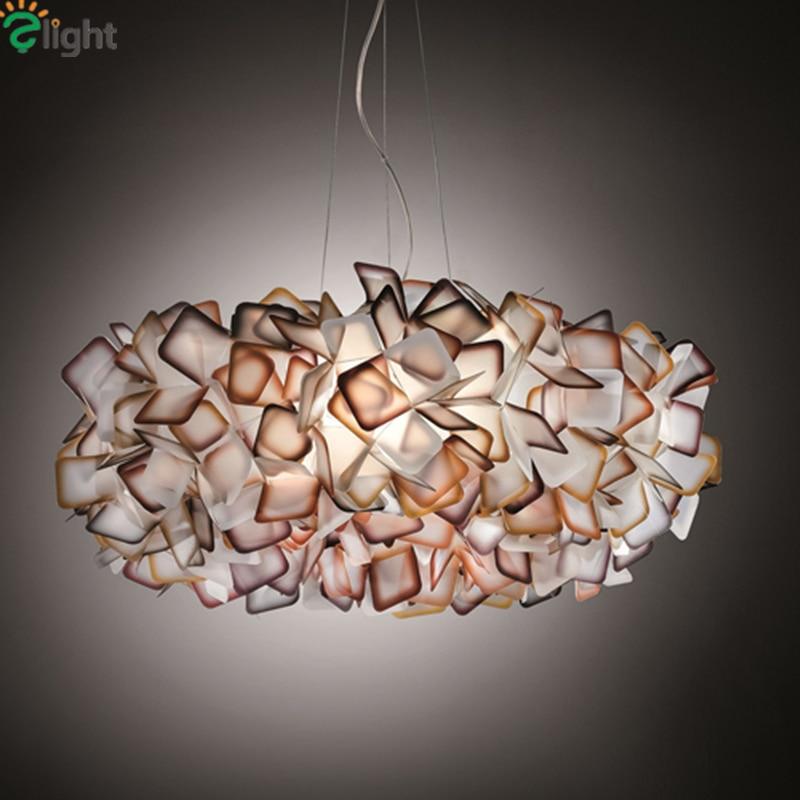 Nouveau Design Clizia Lampe à Suspension Artisanat Coloré Dégradé Acrylique Fleur Led Pendentif Lumière Chambre Salle à manger Suspendue Lumière