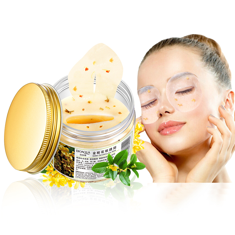 80pcs/bottle BIOAQUA Gold Osmanthus Eye Mask Women Collagen Gel Eye Pads Sleep Patch Skin Care Cream Anti-aging Moisturizer
