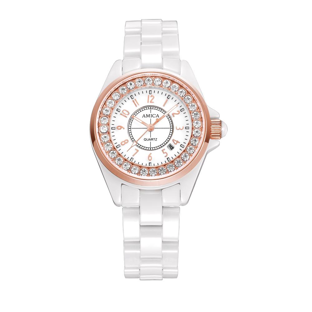 Amica Women's D-Ceramics Quartz Sapphire Silver Tone Stainless Steel Surface Crystal Ceramic Watchband Wrist Watches A5-1 amica women s d ceramics quartz sapphire silver tone stainless steel wrist watches a 1 5