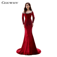 CEEWHY Long Dresses Evening Gown for Women Mermaid Dress Abendkleider 2018 Evening Dress Long Sleeve Crystal Beaded Gown