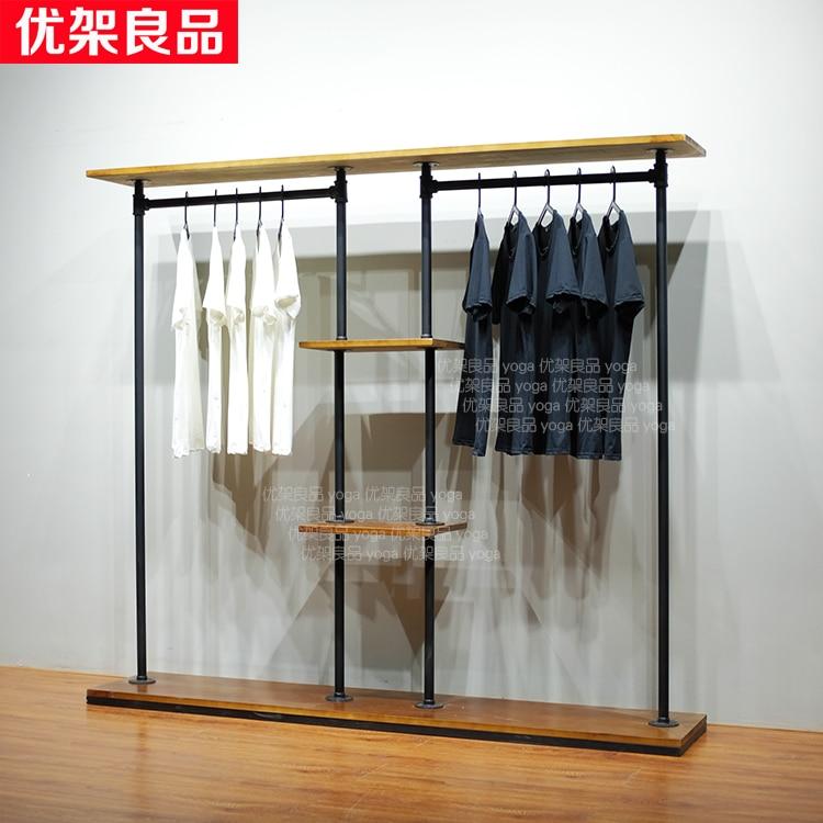 Retro water pipe hanger, iron clothing rack, clothing shop, clothes rack, display rack, women's shelf, floor type display rack цены онлайн