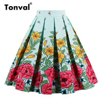 Tonval Vintage Pleated Skirt Navy Blue Floral Print High Waist Skirts Womens Retro School Summer 2019 Skirt 3