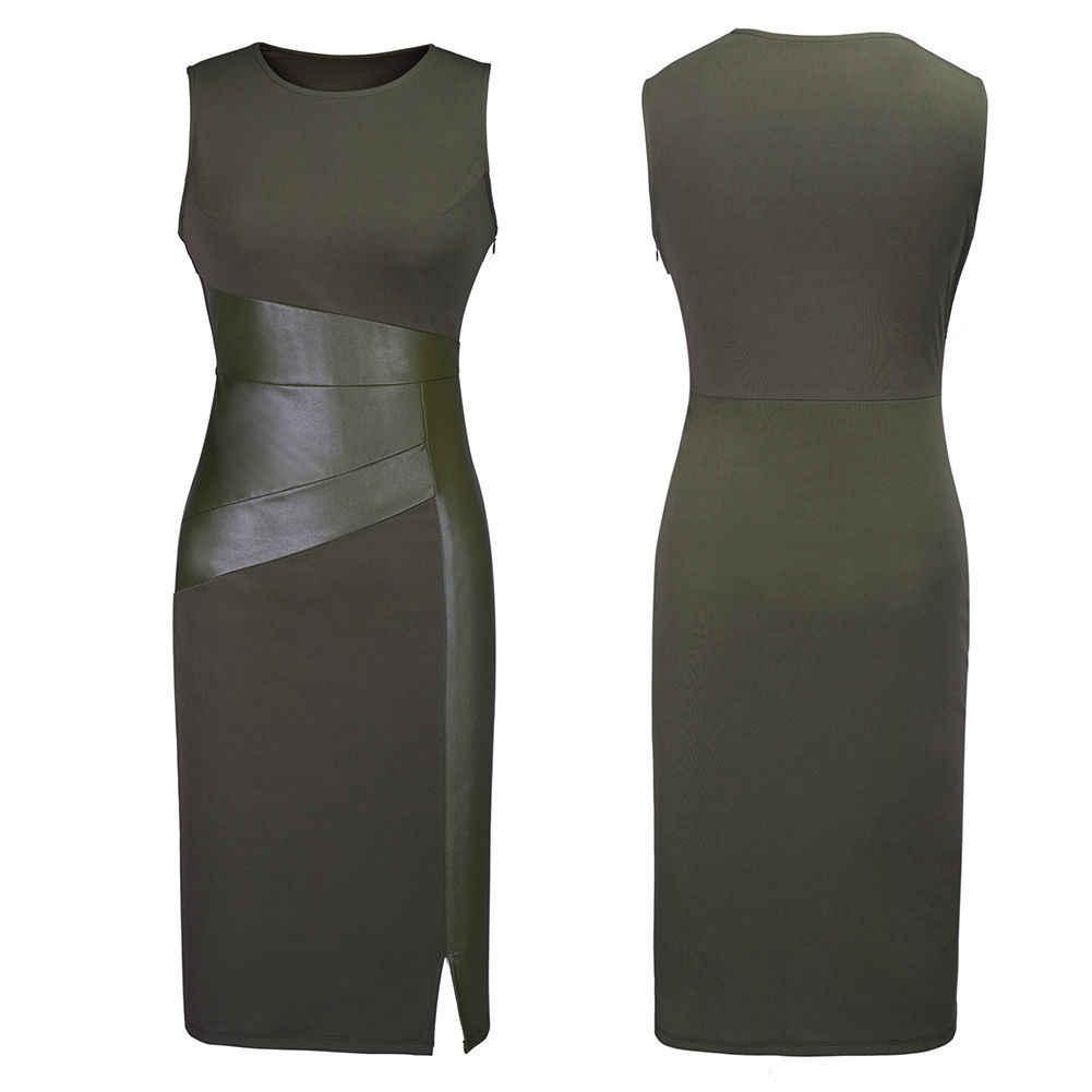 섹시한 여자 민소매 패치 워크 PU 가죽 드레스 와인 레드 블랙 육군 녹색 낮은 컷 Bodycon 저녁 파티 연필 드레스 옷