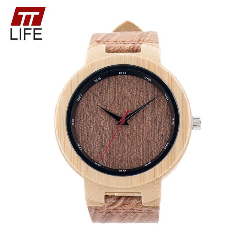 ФОТО TTLIFE Brand Men Women Fashion Designer Bamboo Wood Quartz Watch Buckle Clasp Real Leather Straps Casual Wristwatch in Metal Box