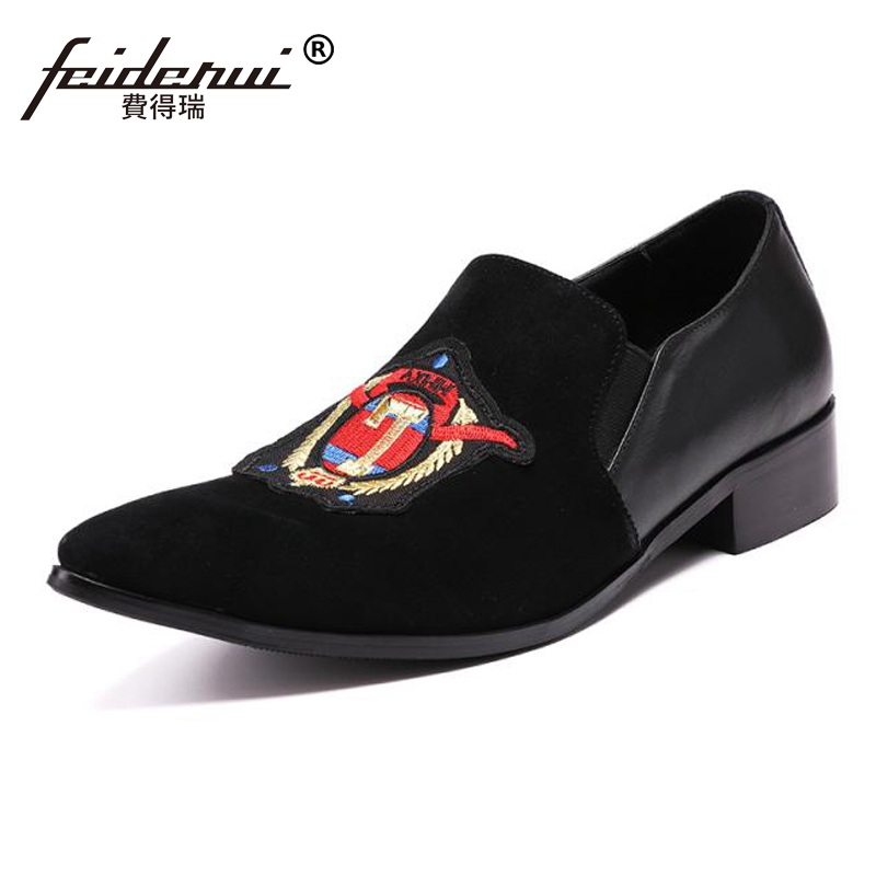 Plus Size Luxury Pointed Toe Slip on Man Party Loafers Genuine Leather Italian Designer Handmade Men's Runway Club Shoes SL110 luxury pointed toe rivet casual shoes england designer party and banquet men loafers fashion young man walking street shoes