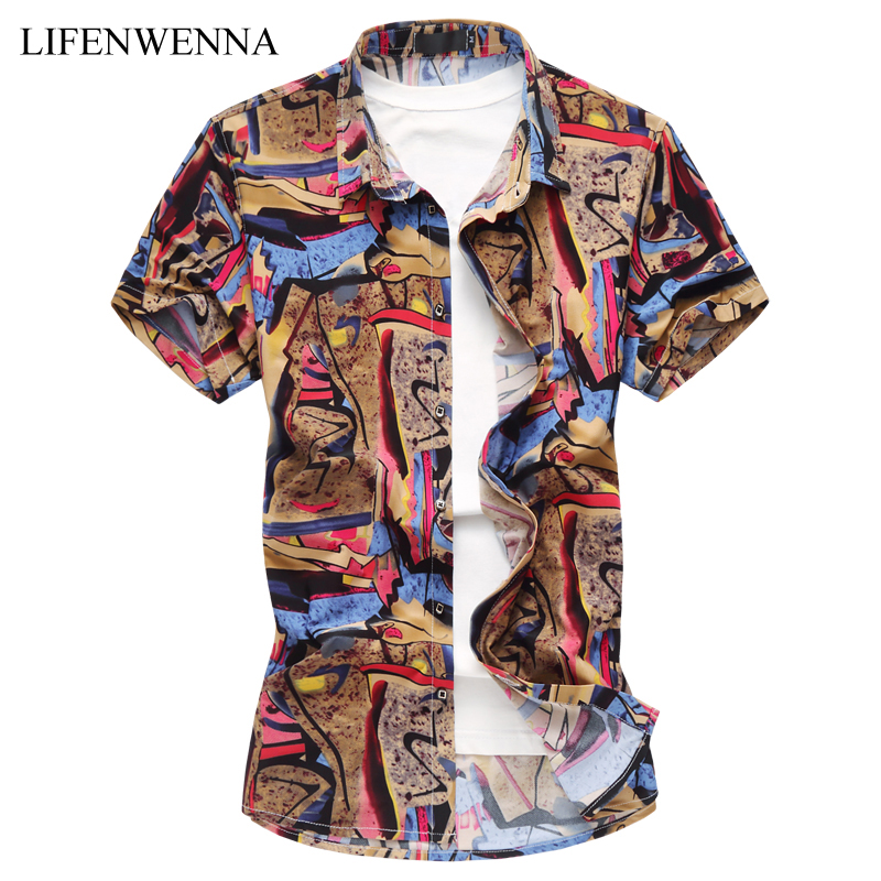 Plus Size 6XL Mens Shirt Summer Fashion National Style Print Short Sleeve Shirt Mens Clothes Trend Casual Slim Fit Shirts Mens
