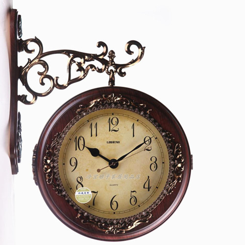 european style double sided wall clock creative imitation wood
