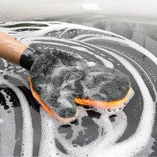 1PCS Car Wash ถุงมือไมโครไฟเบอร์หนารถจักรยานยนต์อุปกรณ์ทำความสะอาดดูดซับแปรงรายละเอียดเครื่องมือผ้าขนหนู