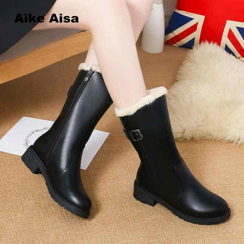 82cb4afee22 ... 2019 New Autumn Winter Mid-calf Women Boots Flats Heels Warm Plush PU  Leather High