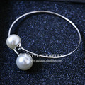 USTYLE Women Bijoux Simple Vintage Design White Gold Plated Twin Double Pearls Bangles for Women UB0138B