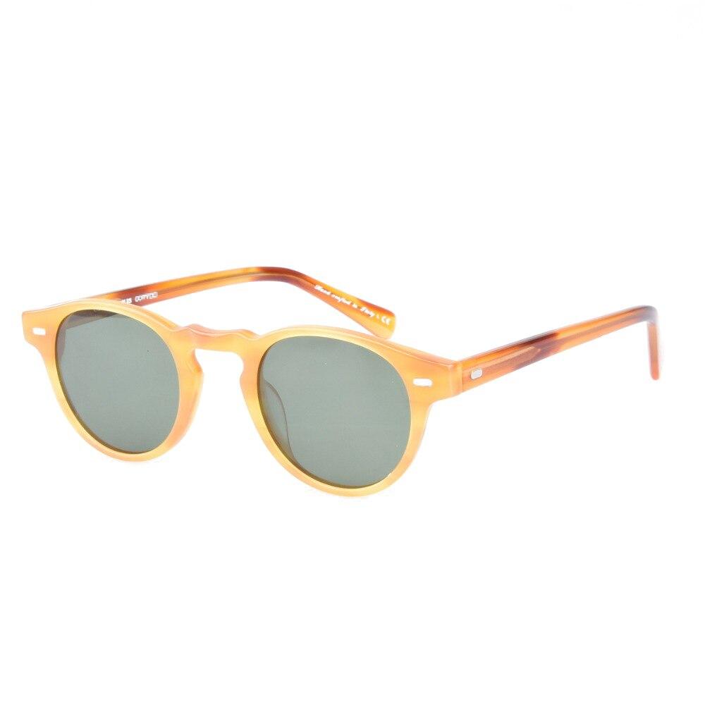 2019 Acetate Classic Polarized Sunglasses Men Vintage Driving Round Frame Sun Glasses Women UV400 Gafas De Sol with Colored Lens