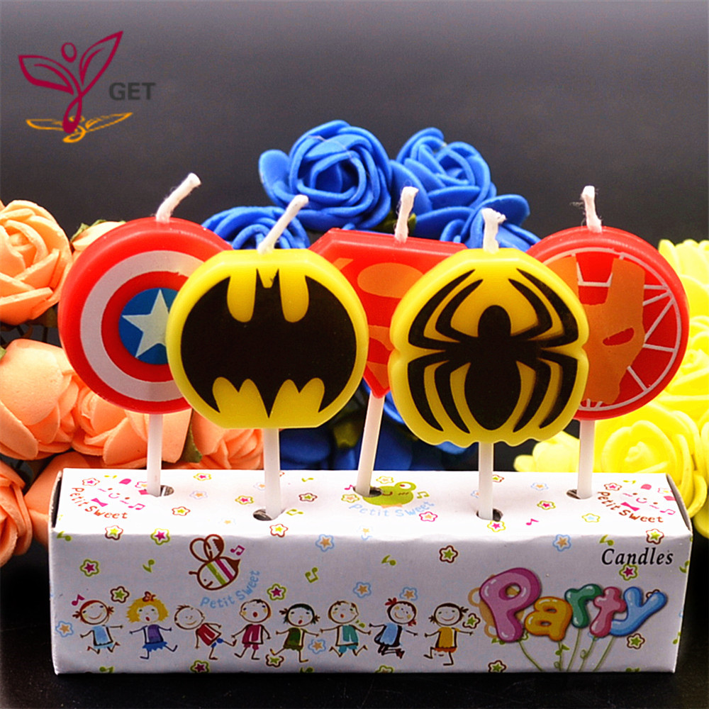 HOT 5pcs Lot The Avengers Party Supplies Kids Birthday Cake Candles Evening Decorations Set In Decorating From