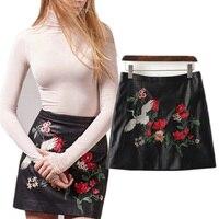 2017 Streetwear Femmes marque PU en cuir fleur brodé zipper jupes faldas mode vintage sexy noir mini taille haute jupe