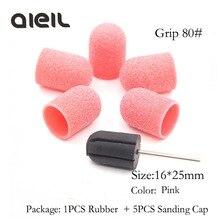 16*25 Rubber Doorn Grip 5 Pcs 80 #150 #240 # Schuren Band Caps Cutter Voor Manicure machine Set Frees Voor Pedicure Tool