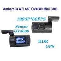Бесплатная Доставка! Оригинальные новые обновления мини 0806 Full HD 1296 P 30fps Ambarella a7la50 ov4689 Видеорегистраторы для автомобилей GPS тире Камера