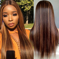 4#/30# Lace Front Human Hair Wigs For Women Pre Plucked Ombre Straight Lace Front Wig With Baby Hair Remy Brazilian Hair Wig