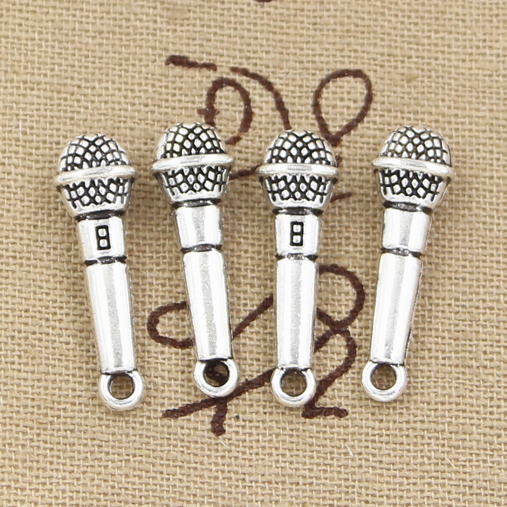 15 Stücke Charms Mikrofon 25x7mm Antike Silber Überzogene Anhänger, Die Diy Handgemachten Tibetischen Silber Schmuck Dauerhafte Modellierung