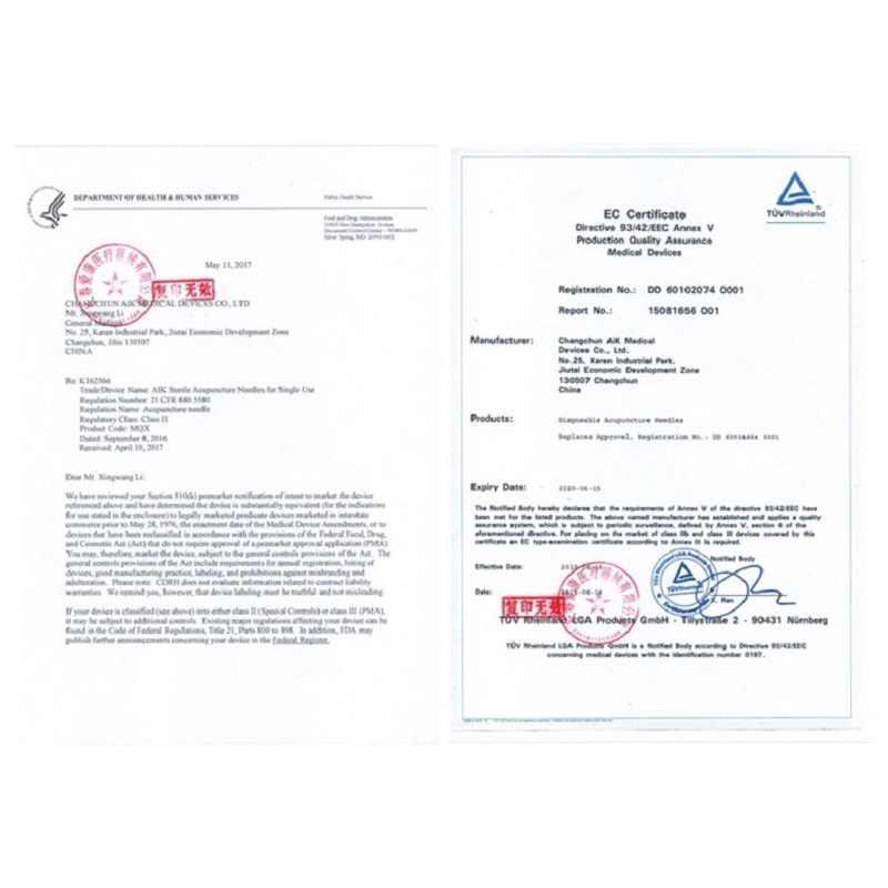 500 шт./кор. Zhongyan Taihe игла акупунктуры FDA & CE сертификаты одноразовые иглы массажа красоты иглы из нержавеющей стали