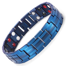 Fashion Jewelry Healing FIR Magnetic Titanium Bio Energy Bracelet For Men Blood Pressure Accessory Blue Bracelets