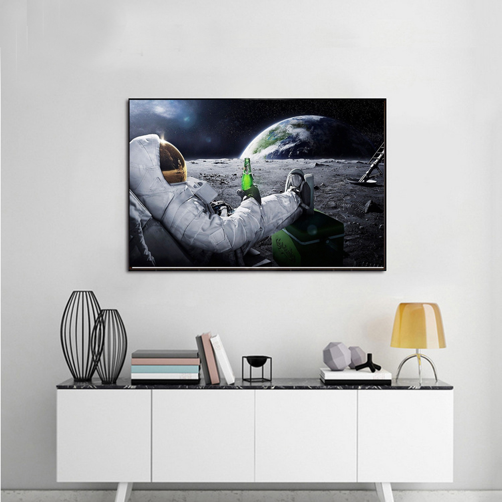 Astronaut Drinking Beer On The Moon Poster Wall Art Silk ...