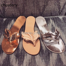 Gold Angel Wings Leaf Casual Women Slippers Shoes Rome Style Lady Flats Sandals Shoes Open Toe Flip flops Shoes Leather Shoes