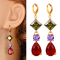 Multicolor Cubic Zirconia Red Earrings For Women Fashion Jewelry   Yellow Gold Plated Vintage Long Drop Earrings E1118
