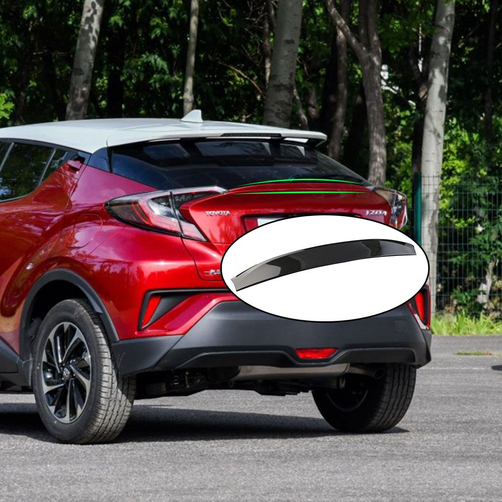 For Toyota CHR C-HR 2016 2017 2018 ABS Car Accessory Rear Trunk Lid Spoiler Trim Tail Rear Upper Bumper Protector Sticker Cover for toyota land cruiser lc200 fj200 2013 2014 abs chrome rear trunk lid cover trim tail gate trunk protector accessories